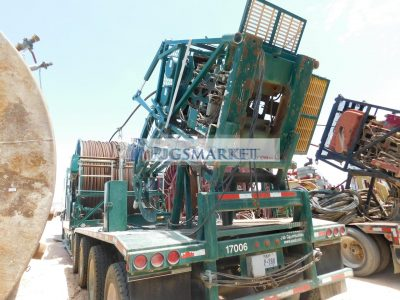 COIL UNIT WITH NOV HYDRA RIG HR680 Injector, SUREFIRE 2400-0352 Spooler Reel, Climate Controlled Operators Cabin, SIMSON MAXWELL 12KW Generator p/b 3-Cyl Diesel Eng, Mtd on 2010 PEERLESS CH-58-4A 4-Axle Lowboy Trailer w/ Hyd Leveling Legs